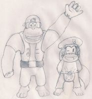 Chunky and Dixie Kong by ZeoLightning