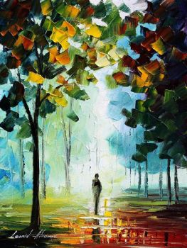 Autumn fog 4 by Leonid Afremov by Leonidafremov