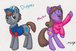 Dipper and Mabel ponies by NeonRedWings