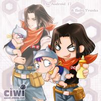 chibi style of 17 and trunks by DYKC