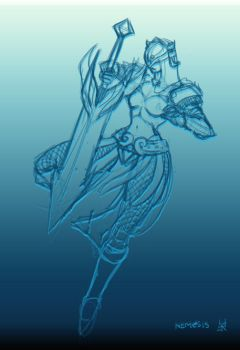 Nemesis from Smite Rough Sketch by eyrcyborg