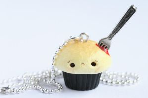 Bleeding Cupcake Halloween Necklace by xoxRufus