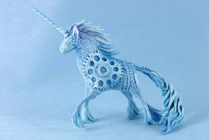 Blue steampunk unicorn by hontor