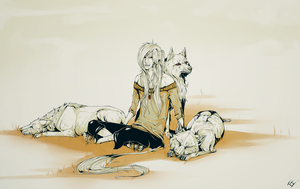 guardian of the wolves  by wyum