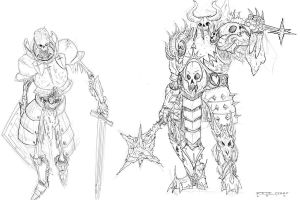 Skeleton Knights Linework by mirrors519