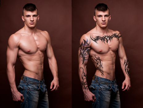 Adding Tattoos - Before And After by SkylarHarmonia