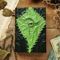 Green patch leather necronomicon - small size by MilleCuirs