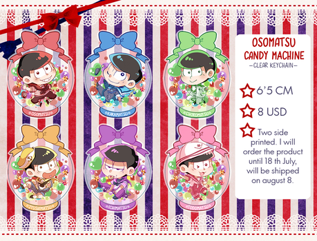 Osomatsu candy machine( clear keychain) Pre-order! by RikkuHanari