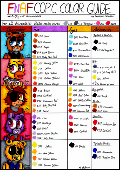 FNAF Copic Color Guide - #1: Original Animatronics by Spacecat-Studios