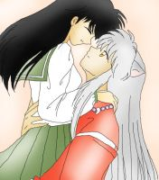 Inuyasha and Kagome by yourFACEEE