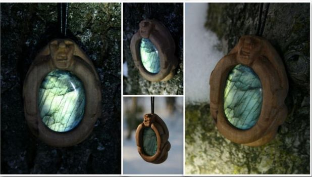 Pear Wood and Labradorite Sheela Na Gig Pendant by MozDynamite