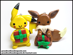 Pikachu and Eevee Ornaments by GrandmaThunderpants