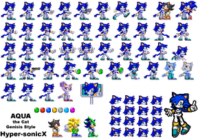Aqua the Cat Genisis Sprites by LucarioShirona