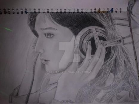 Headphones Girl Drawing by HHTArt