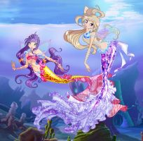 Tine and Silema Mermaids by Other-Fairies