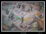 businessmen playing monopoly by cfitzart