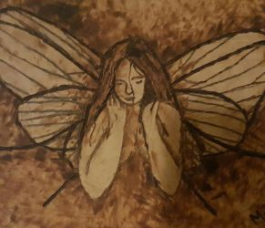 pyrography on leather fairie by rainbow-falls