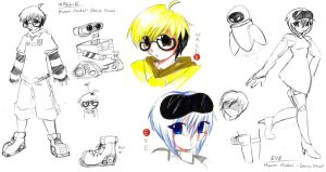 WALL-E and EVE - Design Sheet by anime-dragon-tamer