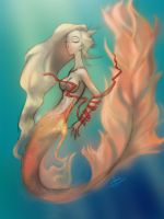 Mermaid and red ribbon by Whip3107