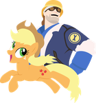 Team Fortress 2 Engineer and AppleJack [Trade] by DarkLight02