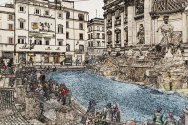 Trevi fountain - Fontana di trevi by Book-Art