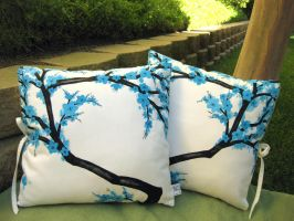 Blue Cherry Blossoms on White by derilyn
