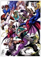 Street Figther vs Darkstalkers by madmaxsol