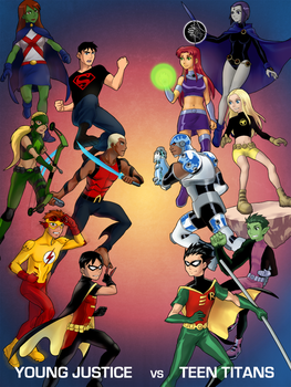 Young Justice vs Teen Titans by scotty9359
