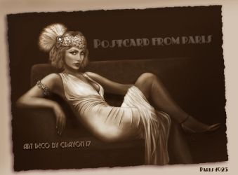 Art deco series 5 - Postcard from paris by crayonmaniac