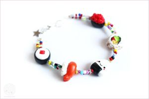 Sushi Bracelet Polymer Clay  Handmade Jewelry by kukishop
