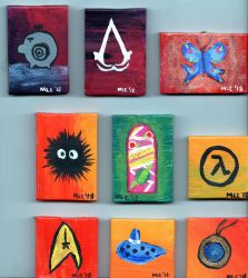 First Collection of tiny canvases by dragondoodle