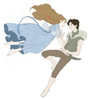 Peter and Wendy Flying Colored by The-First-Marauder