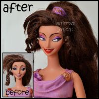 repainted ooak megara / meg doll from hercules. by verirrtesIrrlicht