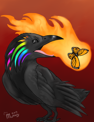 Crow chasing the butterfly by FearFurr