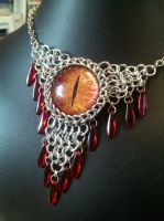 Fire Eye with Red Daggers in Maille by BacktoEarthCreations