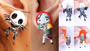 Jack Skellington and Sally Earrings by ArtzieRush