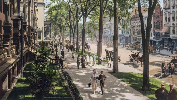Broadway in Saratoga Springs, New York, ca 1915 by Mygrapefruit