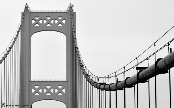Mackinaw Bridge BW by JCobes