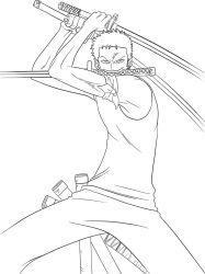 zoro - lineart by ElseWhereLand