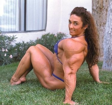 Elegant Muscular Lady Laying on Grass by cribinbic
