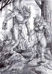 Commission - Couple of werewolves - BW by FuriarossaAndMimma