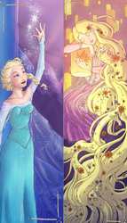 Elsa and Rapunzel bookmarks by theangelofchaos