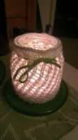Glassjar candle lantern hvite and green by KnitLizzy