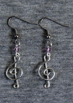 Silver and Lavender Treble Clef Earrings by craftymama