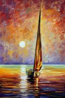 Gold Sail by Leonid Afremov by Leonidafremov