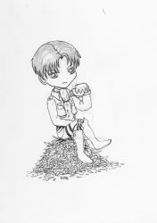 Inktober 2018 drawing 25- Levi atop tea leaves by MsAlayniousCreations