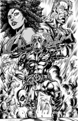 Deadpool 2 pinup Inked n Toned by CdubbArt