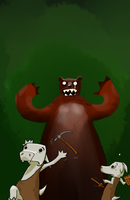 cutebolds and wild bear by Germille