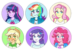 [FA]: Equestria Gals Buttons by SimplyDefault