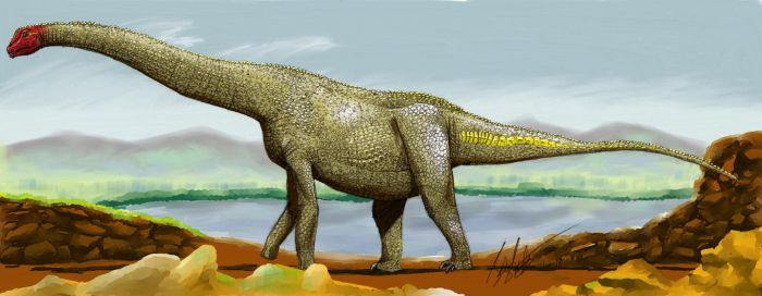 Alamosaurus (in color) by palaeozoologist